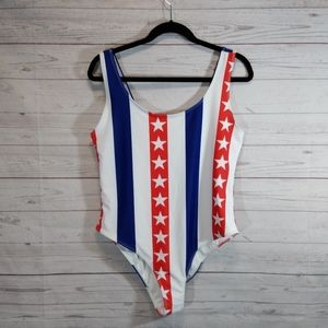 🎉 Forever 21 + one piece tank swimsuit patriotic